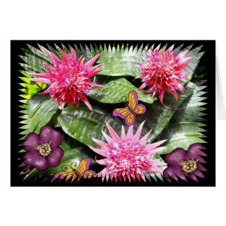 Cartes Trois fleurs roses de cactus avec des papillons