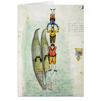 Cartes Trois hommes équilibrant sur deux gondoles, 1772