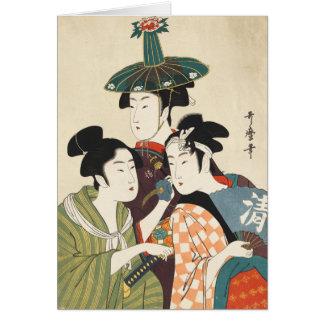 Cartes Trois jeunes hommes ou femmes, Utamaro