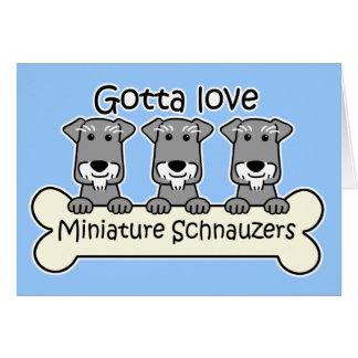 Cartes Trois Schnauzers miniatures