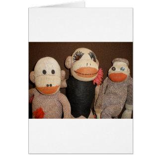 Cartes trois singes de chaussette
