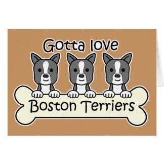 Cartes Trois terriers de Boston