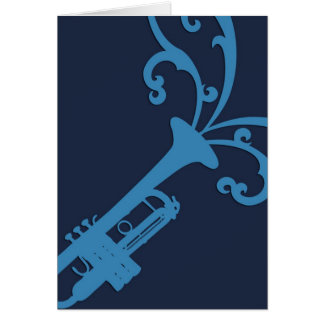 Cartes Trombone musical bleu