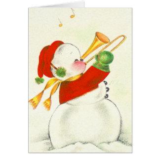 Cartes Trombone vintage de bonhomme de neige