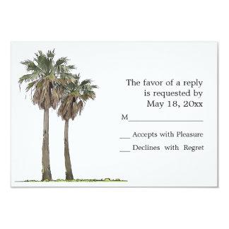 Cartes tropicales des palmiers RSVP Carton D'invitation 8,89 Cm X 12,70 Cm