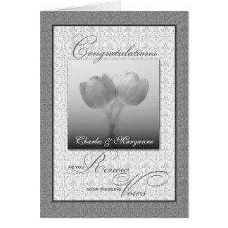 Cartes Tulipes argentées de félicitations de