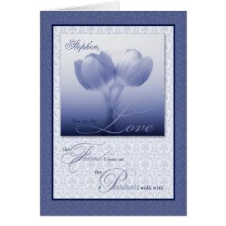 Cartes Tulipes bleues d'anniversaire de mariage d'associé