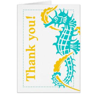 Cartes Turquoise d'hippocampe, Merci jaune de mariage