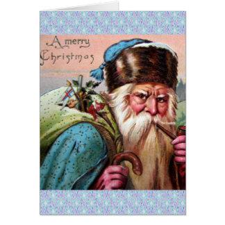 Cartes Tuyau de tabagisme bleu du père noël de robe