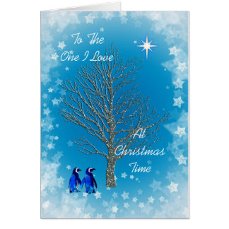 Cartes Un amour d'I avec des pingouins de Noël