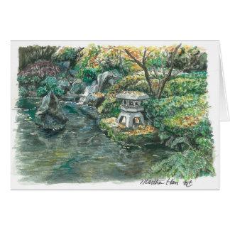 Cartes Un étang avec une pagoda