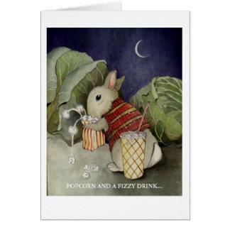 Cartes Un lapin apprécie un casse-croûte