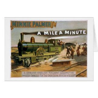 """Cartes """"Un mille"""" une affiche vintage minuscule de train"""