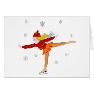 Cartes Un patinage de glace de jeune fille comme automne