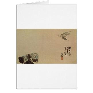 Cartes Un petit coucou à travers un hortensia (Haiga) par