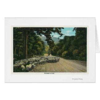 Cartes Un principal mouton de berger sur une route du