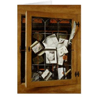 Cartes Un trompe - l ' oeil d'un placard vitré ouvert