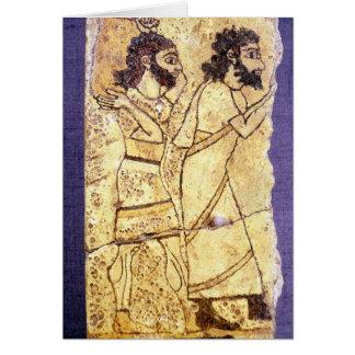 Cartes Une plaque dépeignant la marche de deux hommes