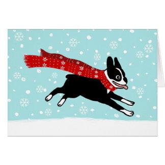 Cartes Vacances de neige d'hiver de Boston Terrier