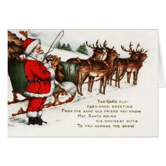 Cartes Vacances de renne de Père Noël Sleigh de Joyeux