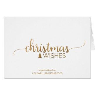 Cartes Vacances d'entreprise de calligraphie simple d'or