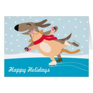 Cartes Vacances Patiner-Heureuses de glace de chien et de
