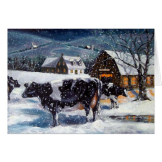 CARTES VACHES : NOËL : NEIGE : ART : LE HOLSTEIN