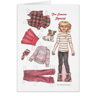 Cartes Valentine de papier chic de poupée de bûcheron