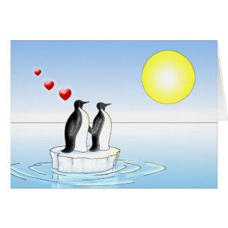 Cartes valentine de pingouin