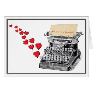 Cartes Valentine tapé à la machine