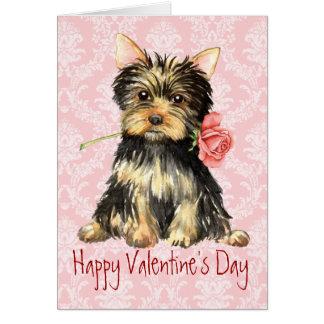 Cartes Valentine Yorkie rose