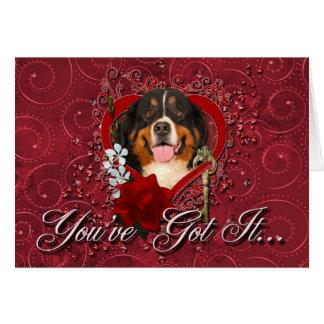 Cartes Valentines - clé à mon coeur - chien de montagne
