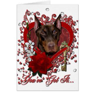 Cartes Valentines - clé à mon coeur - dobermann - rocheux