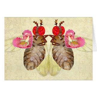 Cartes Valentines de banane d'échange de mouches à fruit