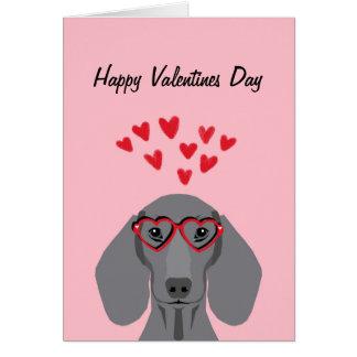 Cartes Valentines de teckel de Doxie - gris