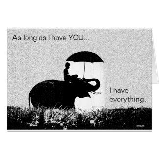 """Cartes Valentines """"tant que je vous ai"""" pluie d'éléphant"""