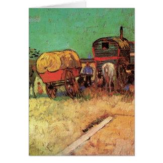 Cartes Van Gogh ; Campement des gitans avec des caravanes