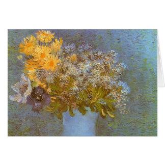 Cartes Vase avec des lilas et des marguerites par Vincent