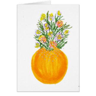 Cartes Vase et fleurs oranges