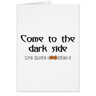 Cartes Venez au côté en noir - nous prenons des biscuits