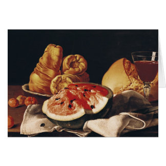 Cartes Verre de vin, de pastèque et de pain