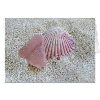 Cartes Verre et coquillage roses de mer