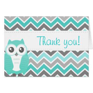 Cartes Vert Chevron de note de Merci de baby shower de