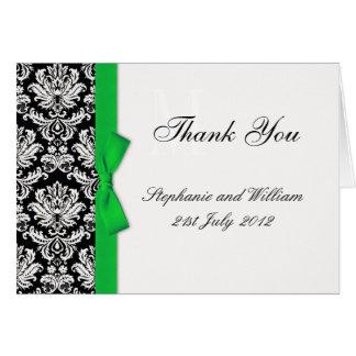 Cartes vertes de Merci de mariage damassé d'arc