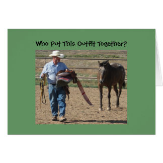 Cartes Vieil anniversaire idiot de cowboy et de cheval