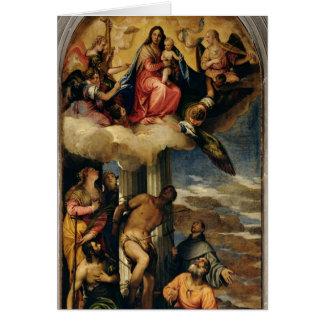 Cartes Vierge et enfant avec des musiciens et des saints