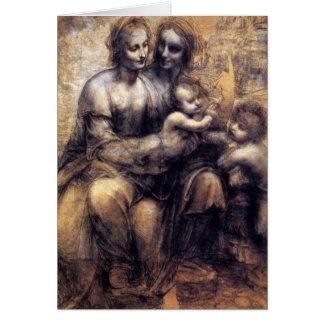 Cartes Vierge et enfant avec le croquis de St Anne