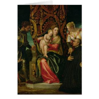 Cartes Vierge et enfant avec un moine bénédictin