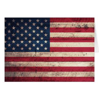 Cartes Vieux drapeau américain en bois