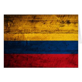 Cartes Vieux drapeau en bois de la Colombie